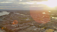 Aerial sunset view Annacis Island, commercial properties, Vancouver Stock Footage