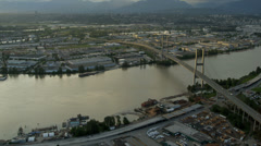 Aerial sunset view Alex Fraser Bridge, Vancouver Stock Footage