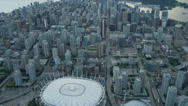 Stock Video Footage of Aerial sunset harbour view Winter Olympic Stadium
