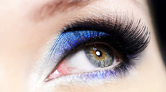 fashion blue makeup of female eye - stock footage