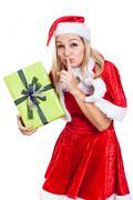 Secret christmas woman Stock Photos