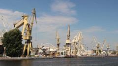 Harbor cranes, shipyard in Szczecin, Poland 2 Stock Footage