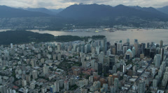 Aerial sunset view downtown Vancouver skyscrapers,  Stock Footage