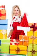 frowning christmas woman - stock photo