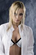 The blond with white bra Stock Photos