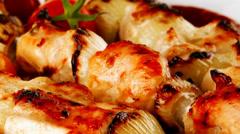 Grilled chicken shish kebab Stock Footage