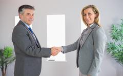 Stock Photo of Cheerful businessman shaking the hand of a content businesswoman both looking at