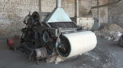 Old cotton cleaning machine Kyrgyzstan, industrial production process in factory Stock Footage