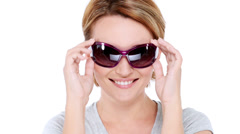 beautiful happy woman with positive emotions in dark sunglasses - stock footage