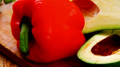 Raw vegetables with oil Stock Footage