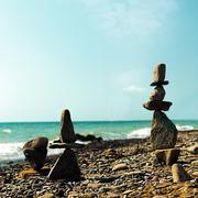 pebble tower, abstract marine still life for your design - stock photo