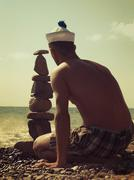On the beach. retro stylized summer post card for your design Stock Photos