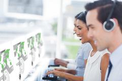 Call center workers at work on futuristic interfaces showing maps - stock photo
