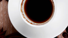 Hot drink : black coffee with beans Stock Footage