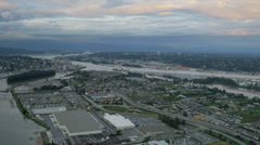 Aerial landscape sunset view residential suburbs Annacis Island, Vancouver Stock Footage