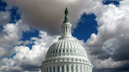Stock Video Footage of US Capitol Dome with Time Lapse Storm Clouds