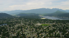 Aerial view suburban homes, BC, Canada - stock footage