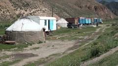 Roadside settlement in Kyrgyzstan - stock footage
