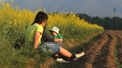 Parents and child have fun in nature Stock Footage