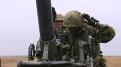 Japanese Infantry - Mortar 02 - stock footage