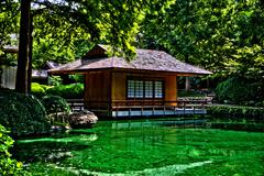 Tea House on water photographed in HDR - stock photo