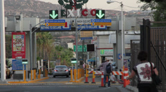 Border Crossing US-Mexico, Tecate Mexico Stock Footage