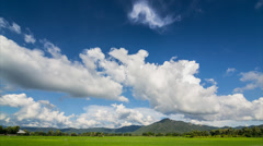 time lapse beautiful blue sky and cloud blowing in the wind - stock footage