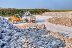 Loading a large lorry building material Stock Photos