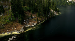 Aerial view high altitude fresh water lake, Canada - stock footage