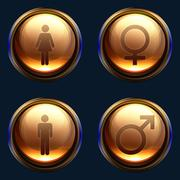 Male female gender icon pack Stock Illustration