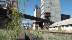 Old Soviet wheat factory Stock Footage