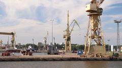 Harbor cranes, shipyard and docks in Szczecin, Poland 4 Stock Footage