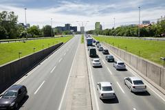 traffic jam in zagreb - stock photo
