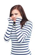 Apprehensive young brunette posing Stock Photos