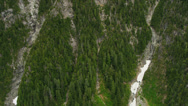 Stock Video Footage of Aerial view forest trees  mountain slopes ravines melting snow, Canada