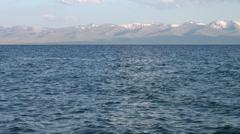 High altitude Song Kol lake in Kyrgyzstan Stock Footage