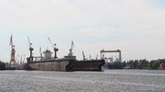 Harbor cranes, shipyard and docks in Szczecin, Poland 5 Stock Footage