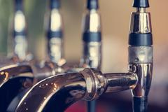 Beer taps close up - stock photo