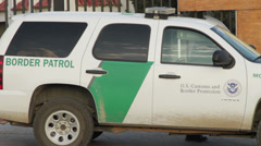 Border Patrol Vehicle, at Tecate-Mexico Border Stock Footage
