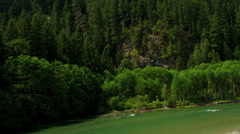 Aerial view tree lined valley wilderness area Fraser River,  Rockies, Canada - stock footage