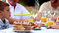Cheerful family celebrating a birthday Stock Footage