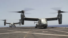 Stock Video Footage of Osprey On Carrier - Take Off 02