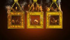Burning frames. Alpha matted Stock Footage