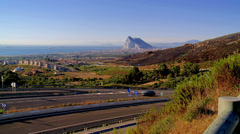 Distant Gibraltar from Spain Stock Footage