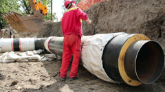 New District Heating Pipes Stock Footage