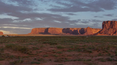 HD 30p tight 1 Shadow dance over Monument Valley at sunset Stock Footage