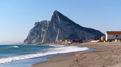 Rock of Gibraltar from la Linea beach Stock Footage
