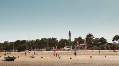 Beach of Cap Ferret and lighthouse in France Stock Footage
