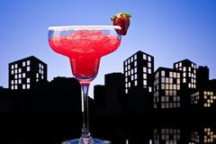metropolis strawberry margarita cocktail - stock illustration