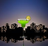 Metropolis green margarita cocktail Stock Illustration